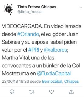 Juan Sabines hace un llamado por el voto para el PRI